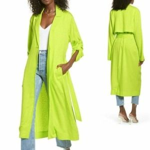 AFRM Neon Bright Long Duster Trench Jacket in XS